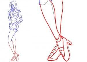 как нарисовать ноги девушки
