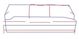 как нарисовать диван карандашом