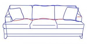 как нарисовать диван карандашом поэтапно