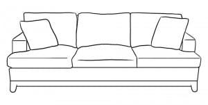 как нарисовать диван в комнате