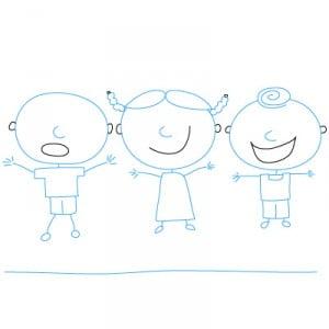 как нарисовать играющих детей