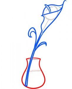 как нарисовать цветок в вазе