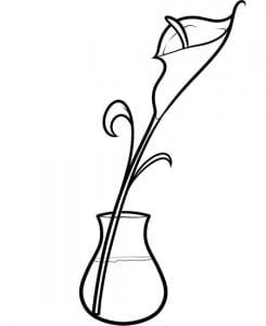 как рисовать цветок в вазе