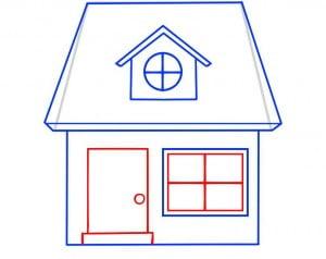как нарисовать домик карандашом поэтапно