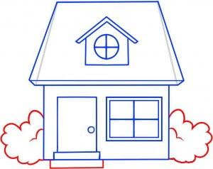 как нарисовать домик в деревне