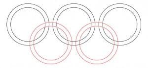 Как нарисовать олимпийские кольца карандашом