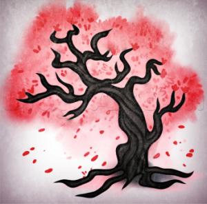 как нарисовать дерево сакуру карандашом
