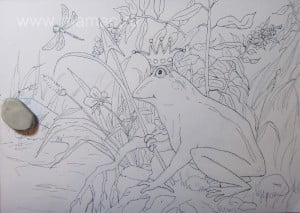 Стираем лишние элементы на рисунке лягушки