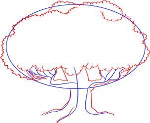 как нарисовать дуб поэтапно