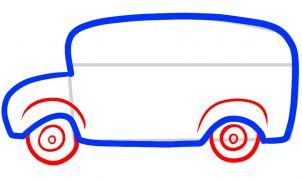 как нарисовать школьный автобус карандашом