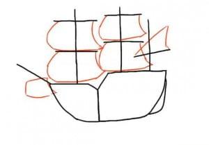 как нарисовать корабль с парусами