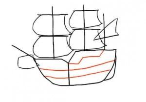 как нарисовать корабль в море