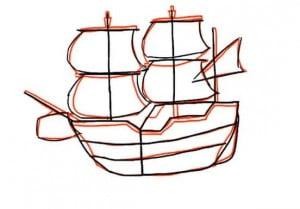 как красиво нарисовать корабль