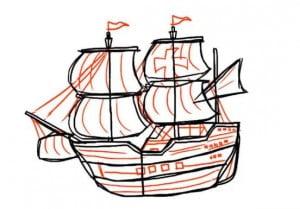 как нарисовать красивый корабль