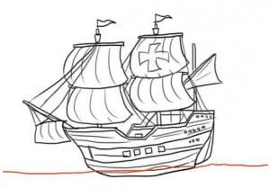как нарисовать парусный корабль