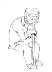как нарисовать старика с палкой
