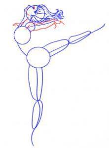 как нарисовать балерину в движении